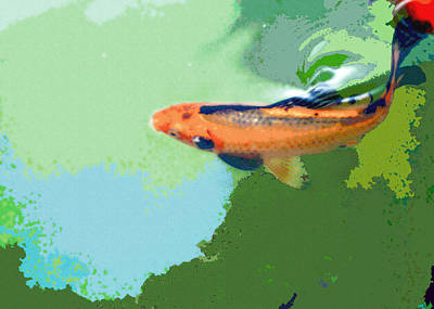 Goldfish Digital Art - A Moment Of Reflection by Lisa Holland-Gillem