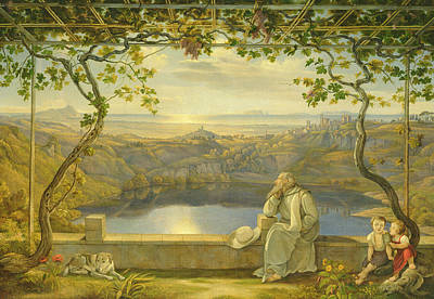 Vines Painting - A Monk On A Terrace At The Nemi Lake by Joachim Faber