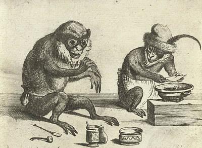 A Monkey, Print Maker Quirin Boel, David Teniers II Art Print