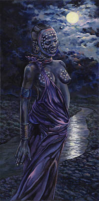 African Woman Painting - A Moonlit Moment by Dennis Goff