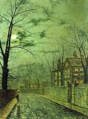 A Moonlit Road Art Print by John Atkinson Grimshaw