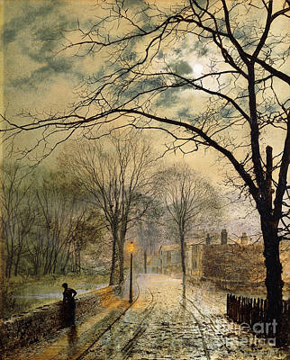 Winter Night Painting - A Moonlit Stroll Bonchurch Isle Of Wight by John Atkinson Grimshaw
