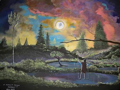 Swing Painting - A Moonlit Swing by Dave Farrow