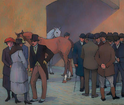 Horse Racing Painting - A Morning At Tattersall's by Mountain Dreams