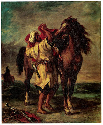 A Moroccan Saddling A Horse Print by Eugene Delacroix