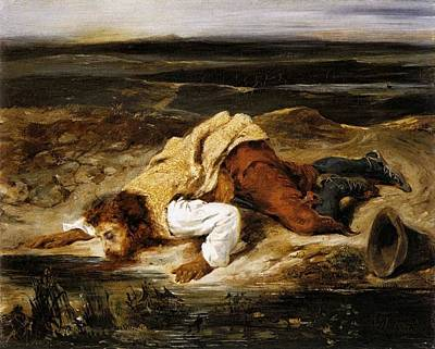 A Mortally Wounded Brigand Quenches His Thirst Art Print by Eugene Delacroix