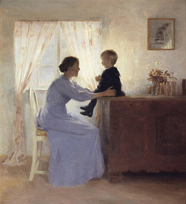 Caring Mother Painting - A Mother And Child In An Interior by Peter Vilhelm Ilsted