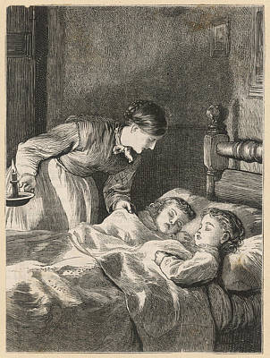 Candle Lit Drawing - A Mother Checks On Her 2  Sleeping by Mary Evans Picture Library