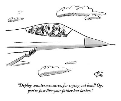 Cry Drawing - A Mother Pesters Her Son About His Flying by Farley Katz