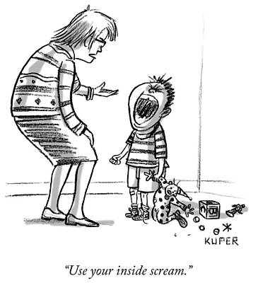 Crying Drawing - A Mother Speaking To Her Screaming Toddler by Peter Kuper