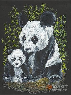 Rain Forest Animals Drawing - A Mothers Devotion by Carol Wisniewski