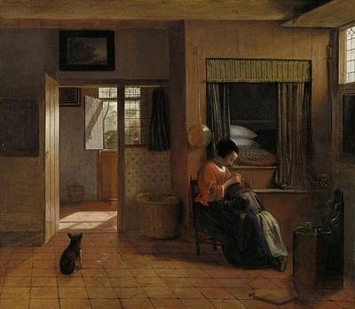 Hygiene Painting - A Mother's Duty by Pieter de Hooch