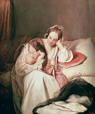 Caring Mother Photograph - A Mothers Love, 1839 by Josef Danhauser