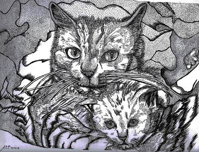Animal Behavior Drawing - A Mother's Love by Asher Pacris