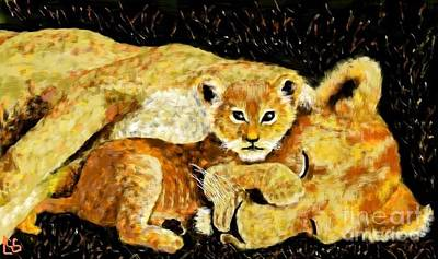 Painting - A Mother's Love - In The Den By Lcs by LCS Art