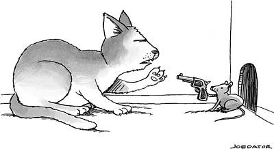 2013 Drawing - A Mouse Is In Front Of A Mouse Hole Pointing by Joe Dator
