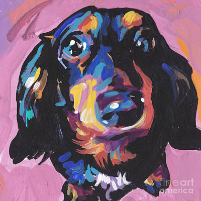 Dog Pop Art Painting - A Moxie Doxie by Lea S
