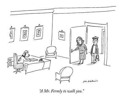 Dog Walking Drawing - A Mr. Fermly To Walk You by Michael Maslin