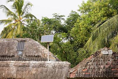 Ganges Photograph - A Mud Hut With A Small Solar Panel by Ashley Cooper