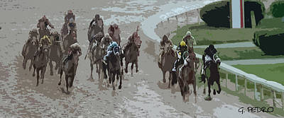 Painting - A Muddy Kentucky Derby by George Pedro