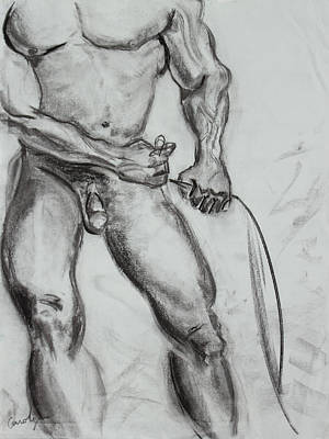 Male Nude Drawing Drawing - A Muscular Man by Asha Carolyn Young