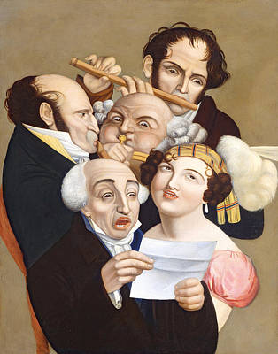 Satire Painting - A Musical Group, C.1830 by French School