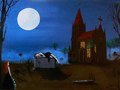 Burial Grounds Painting - A Nasty Surprise by Mareen Haschke
