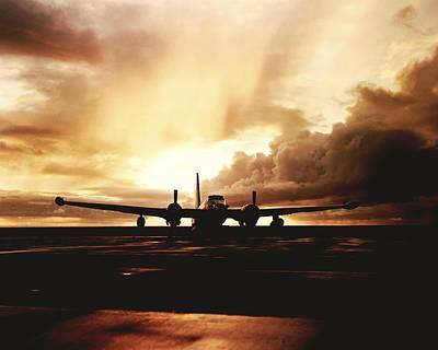 Sunset Strip Wall Art - Photograph - A Navy P2v Patrol Plane At Sunset by Rex A. Stucky