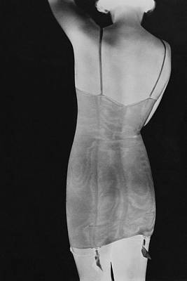 A Negative Print Of A Woman Wearing A Corset Art Print