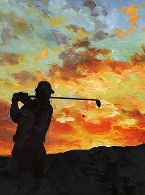 Golfer Painting - A New Dawn by Catf