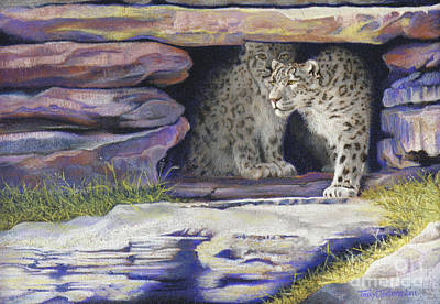 A New Day - Snow Leopards Art Print by Tracy L Teeter