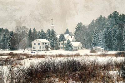 A New England Village In Winter- Antique - Textured Art Print