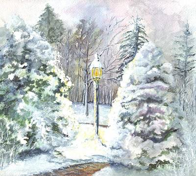 Snowy Night Painting - A Warm Winter Greeting by Carol Wisniewski