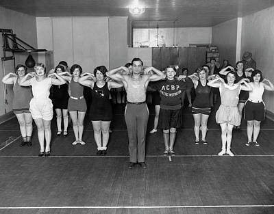 Fitness Instructor Photograph - A New York Exercise Class by Underwood Archives