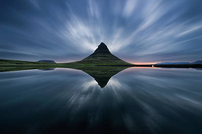 Pyramid Photograph - A Night At Kirkjufell by Simon Roppel