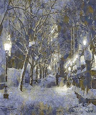 Minimalism Painting - A Night Full Of Snow by Dragica  Micki Fortuna