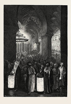 Prayer Drawing - A Night Of The Ramadan by Litz Collection