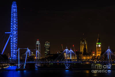 London Skyline Royalty-Free and Rights-Managed Images - A Night on the Thames by John Daly
