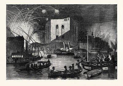 A Night Scene On The Nile Near The Mouth Of The Cairo Canal Art Print by English School