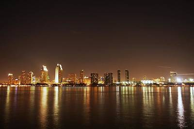 Photograph - A Night View Of San Diego California Skyline From Coronado Island by Willie Harper