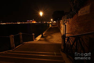 A Night Walk In Venice Art Print