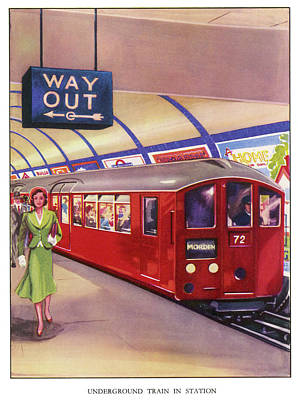 London Tube Drawing - A Northern Line Train In The Standard by Mary Evans Picture Library