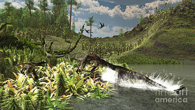 The Pain Digital Art - A Nothosaurus Catches An Unware by Arthur Dorety
