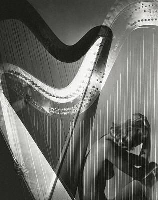 Harp Photograph - A Nude Portrait Of Lisa Fonssagrives by Horst P. Horst