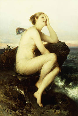 Outdoor Nude Painting - A Nymph By The Sea by Wilhelm Kray