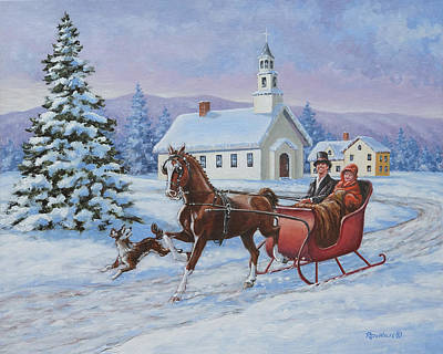 Painting - A One Horse Open Sleigh by Richard De Wolfe