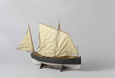 Mainsail Drawing - A One-masted Sailing Boat With A Mainsail And Jib Rigged by Quint Lox