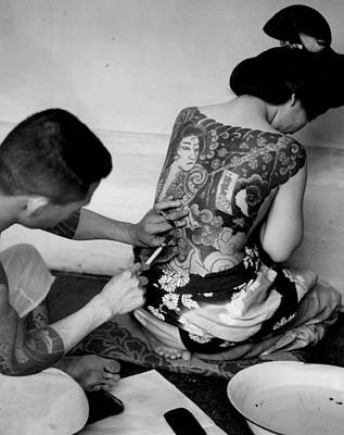 A Oriental Girl Gets Full Tattoo Print by Retro Images Archive