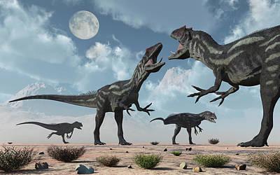 A Pack Of Allosaurus Dinosaurs Art Print