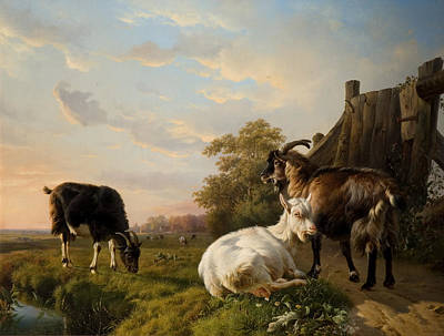 Goat Digital Art - A Pack Of Goats by Jacques Raymond Brascassat